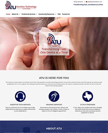 Website for assistive technology company