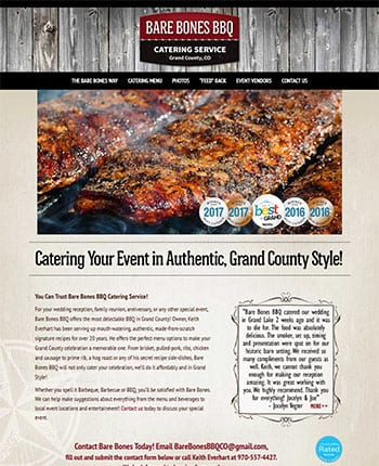 Website for BBQ Catering company