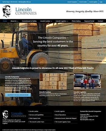 Website design for a lumber company