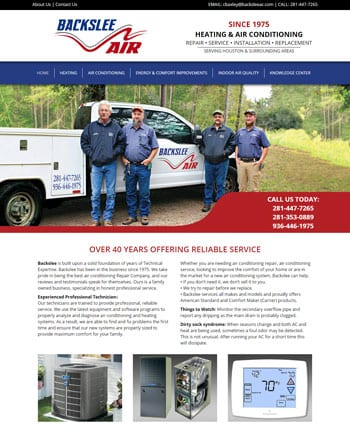 website for an air conditioning company