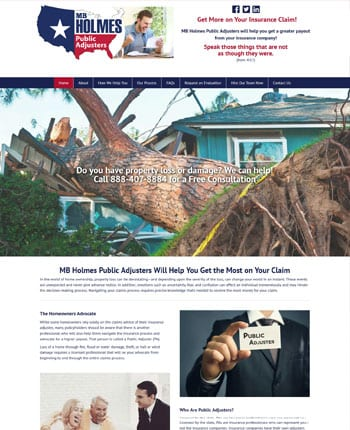 Website for a public adjuster